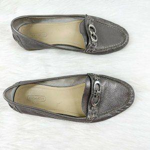 Coach Fortunata Gray Metallic Flat Loafer Shoes 8M